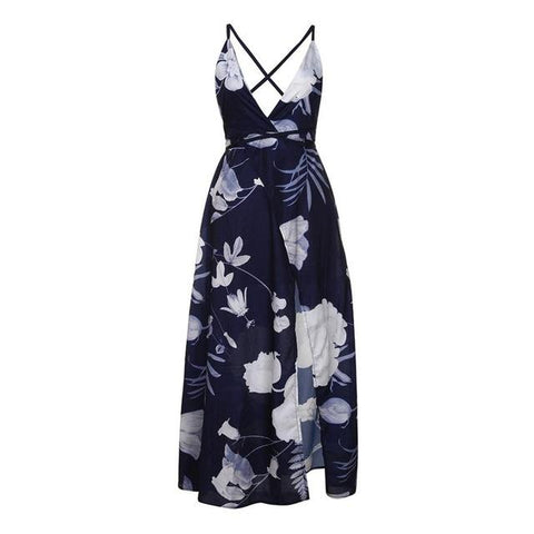 Sexy Off Shoulder Adjustable Strap Backless Floral Maxi Dress