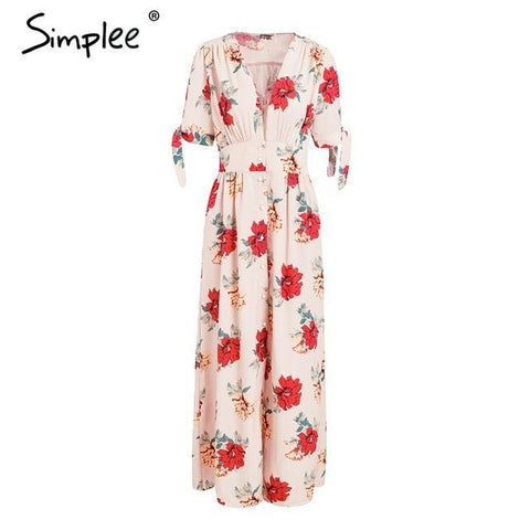 Stunning Floral print V neck knotted short sleeve maxi dress