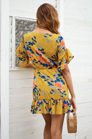 Ruffle floral print Short sleeve Boho dress