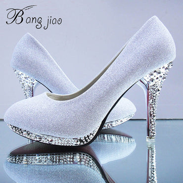Pumps Glitter White Bridal Shoes Heels