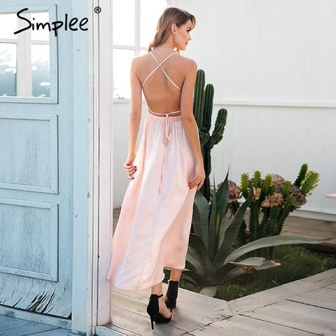 Sexy backless lace up strap long dress
