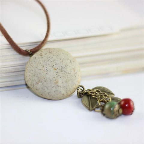 Wood collar stone boho  necklace pendant