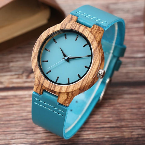 Luxury Royal Blue Wood Watch Top Quartz Wristwatch