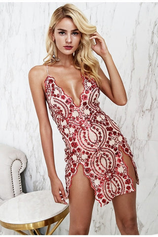 Simplee sexy backless strap mesh sequin party dress
