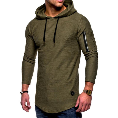New Fashion Solid Color Hooded Sling Men Hoodies