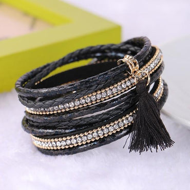 Braided Multilayer Rhinestone Leather Bracelet