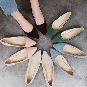 suede slip-on shoes pointed toe Rubber  Flat Shoes