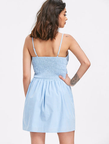 Knotted Front Tie Cut Out Slip Dress