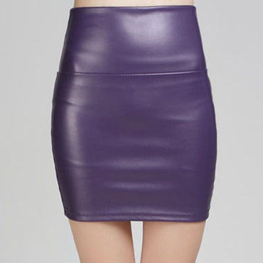 Mini Faux Leather Solid Pencil Skirts