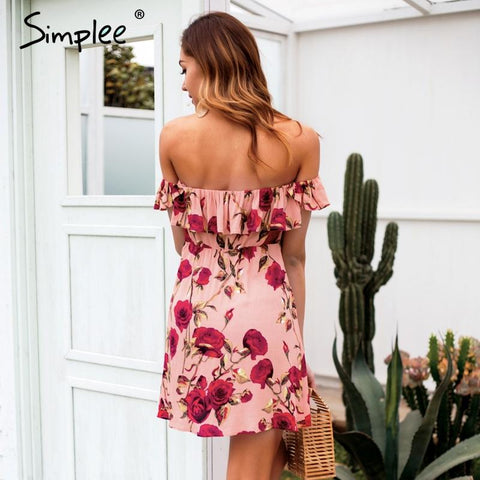 Ruffle off shoulder lace up floral print mini dress