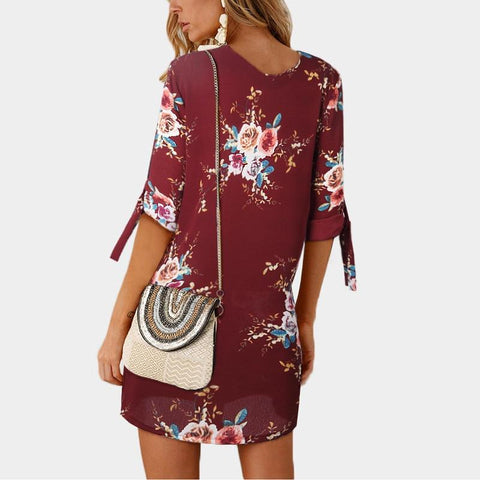 Hot Selling Boho Style Floral Print Mini Dress