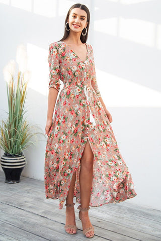 Boho chic Elastic causal button maxi dress