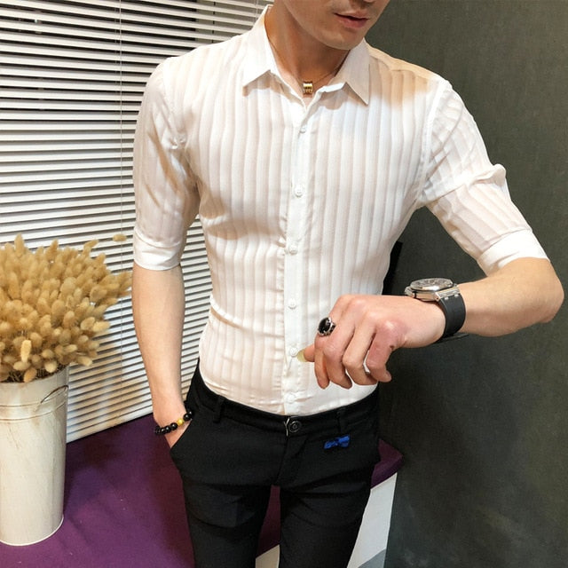 Casual Button Down Sexy See Through Slim Fit Shirt