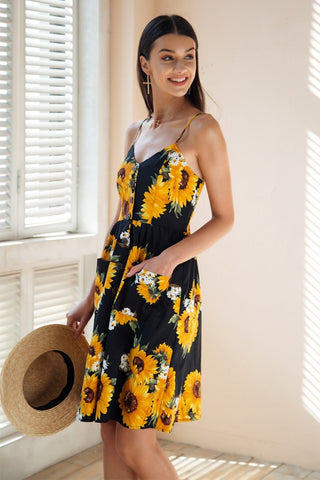 Simplee Strap v neck s Sunflower print backless casual dress