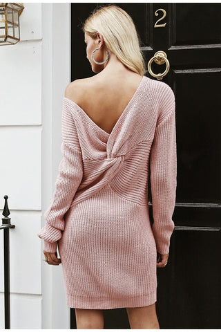 Simplee Off shoulder knitted sexy dress