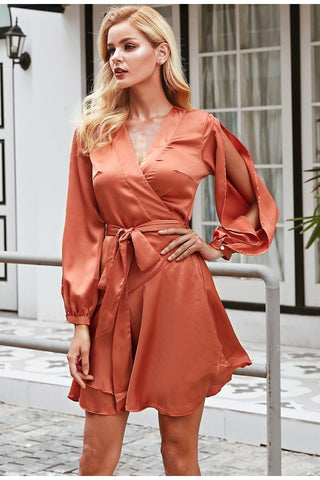 Simplee Ruffles v neck sash women dress