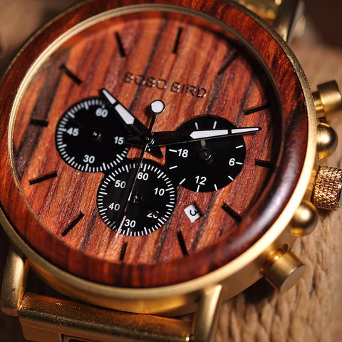Business Luxury Brand Quality Chronograph Wood Metal Quartz Wristwatch Wooden Watch