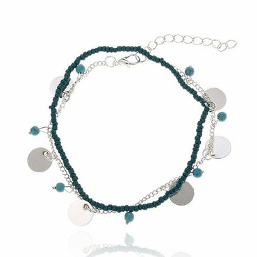 Blue Stone Foot Chain Ankle Round Silver Metal Sheet bracelets & bangles