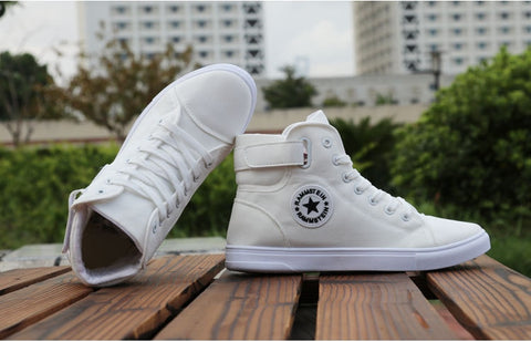 High-top Canvas Shoes Men Spring Autumn Top Fashion Sneakers Lace-up High Style Solid Colors White Shoes