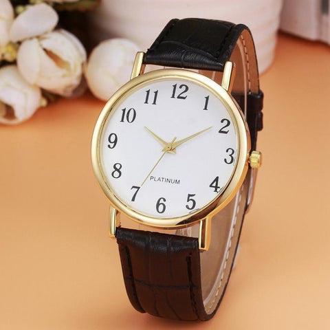 Retro Design PU Leather Band Women Watches