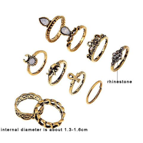 10pcs/Set Silver Gold Color Flower Midi Ring