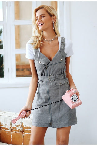 Sexy strap plaid V neck pockets mini dress