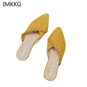 Pointed Toe Women Mules Suede Leather Flat Shoes