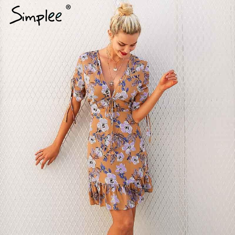 Simplee Ruffle floral print dress