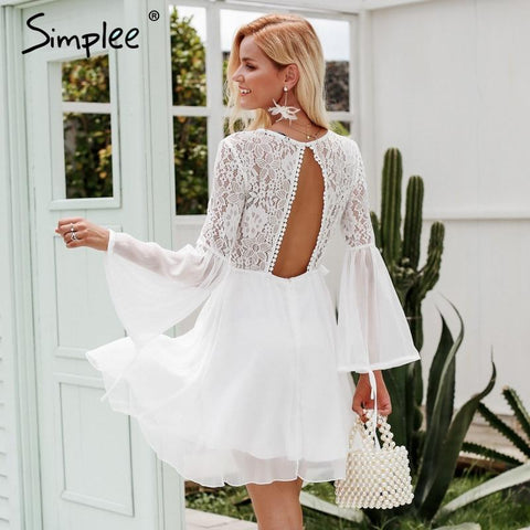 Simplee Embroidery flare sleeve hollow out women dress