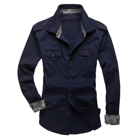Long Sleeve Patchwork Pocket Shirts