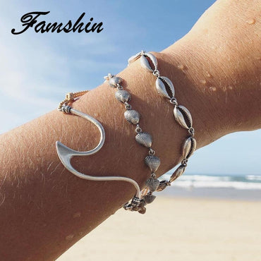 Fashion Wave Bracelet Women Men Unisex Silver Color Simple Bracelets