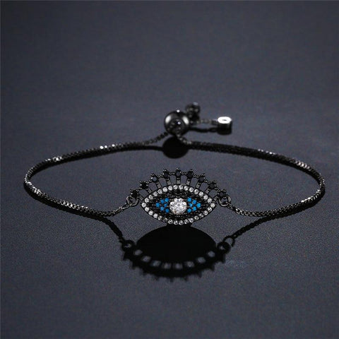 Luxury Full Cubic Zirconia Micro Paved Evil Eye Charm Bracelets