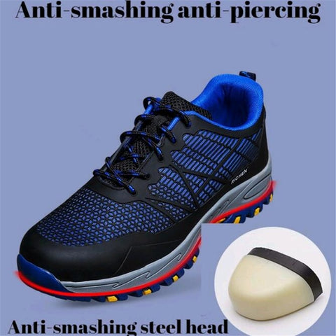 Breathable Mesh Work Shoes Black Deodorant Lightweight Soft-bottomed Steel Toe Puncture-proof Male Safety Work Shoes