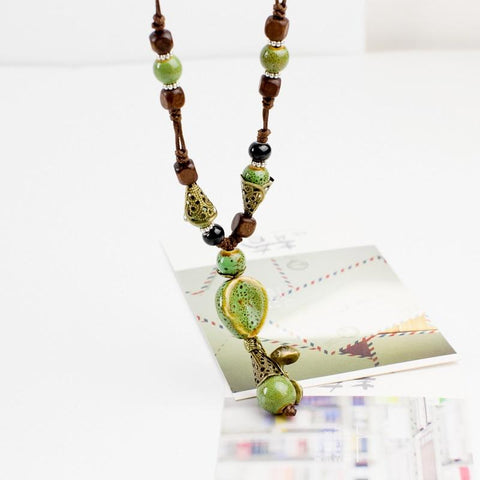 Ceramic Statement Necklaces Long Wood Sweater Chain Necklaces