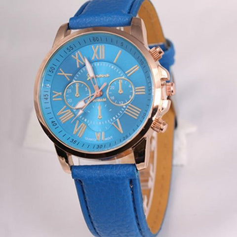 New Fashion Geneva Watches Roman Numerals Faux Leather Quartz Watch