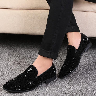 Luxury Rhinestone Men Loafers Handmade Leather Pointed Toe Wedding Shoes Fashion Casual Men's Dress Shoes