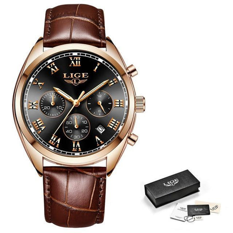 Top Brand Luxury Waterproof  Quartz Watch  Leather Sport Wrist Watch