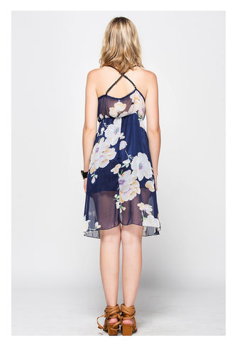 Navy Flower Print Double V Neck Sexy Slip Dress