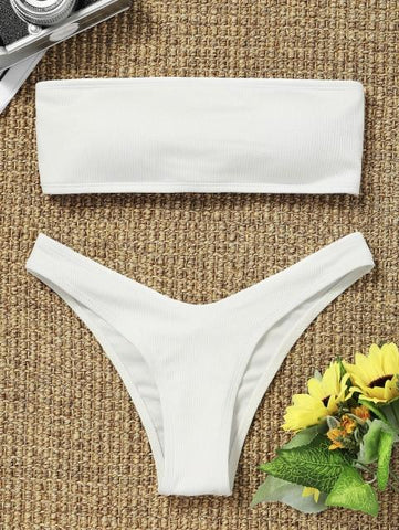 Ribbed High Cut Bandeau Bikini Set