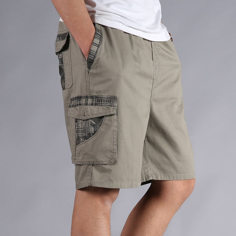 Cotton Elastic Waist Loose Army Green Cargo Shorts