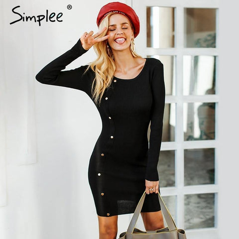 Rivet black knitted bodycon sexy dress