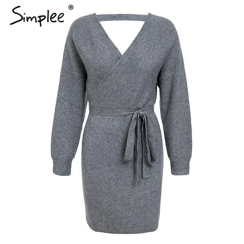 Simplee V neck knitted warp women dress