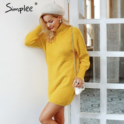 Turtleneck latern sleeve sweater dress