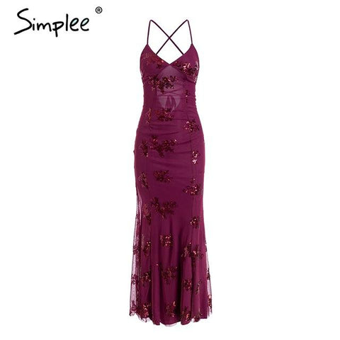 Simplee Strap mesh sequins maxi dress