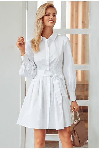 Pleated high waist  long sleeve cotton dress