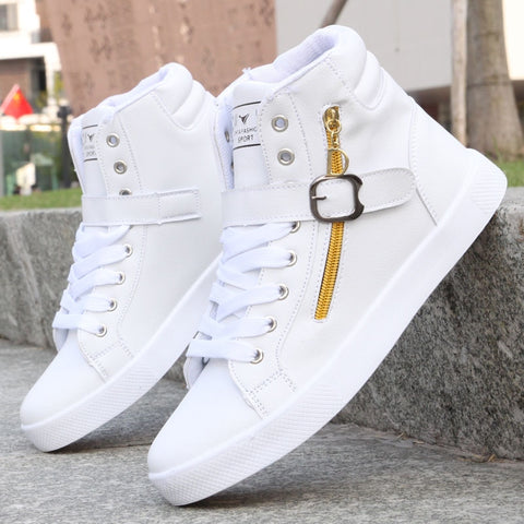 New White Men Boots Winter Shoes Mens Hip-Hop Casual Shoes