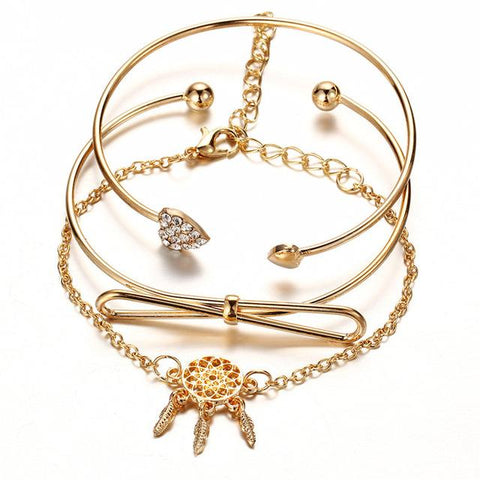 Fashion Charm Cuff Bracelet Bangle Set