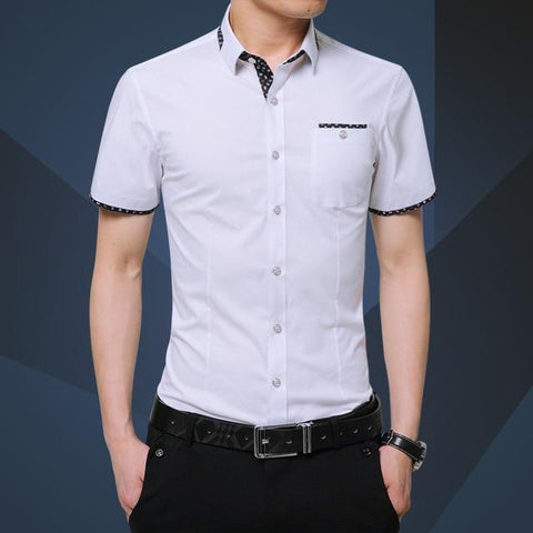 Summer Brand Shirt Male Shirt Sleeve Social Shirt Turn-down Collar Fake Pocket Design Shirt