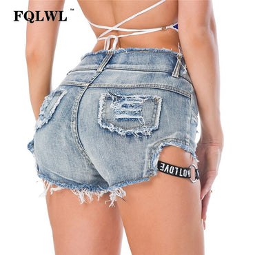 Cotton Elastic Mini Denim  Shorts