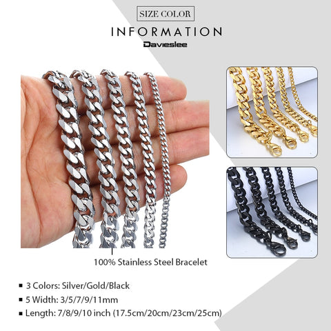 Curb Cuban Link Chain Stainless Steel Bracelet and Bangle